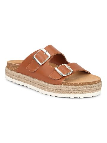 Truffle Collection | Truffle Collection Tan PU Side Buckle Wedges Espadrilles Sandals