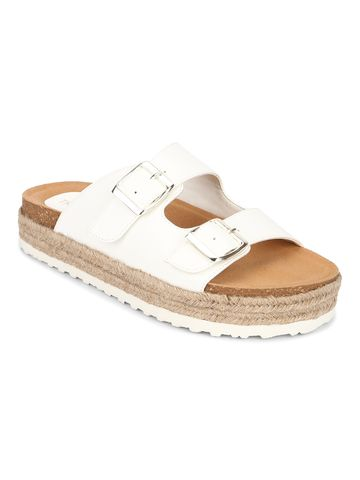 Truffle Collection | Truffle Collection White PU Side Buckle Wedges Espadrilles Sandals
