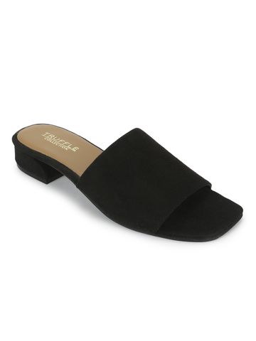 Truffle Collection | Truffle Collection Black Suede Low Heel Slip Ons