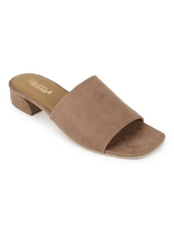 Truffle Collection | Truffle Collection Nude Suede Low Heel Slip Ons