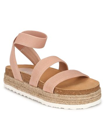 Truffle Collection   Truffle Collection Nude PU Platform Wedges With Back Strap Espadrilles Sandals