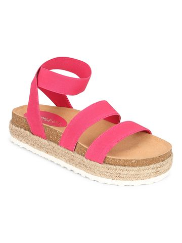 Truffle Collection | Truffle Collection Pink PU Platform Wedges With Back Strap Espadrilles Sandals