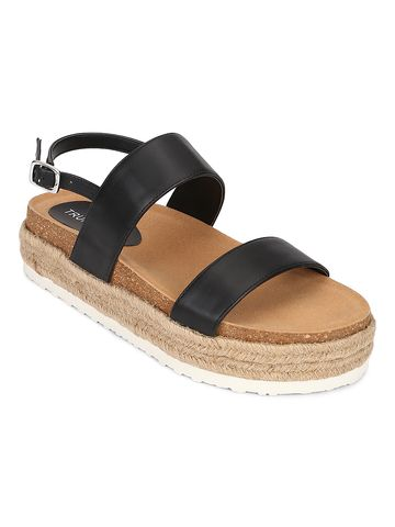 Truffle Collection | Truffle Collection Black PU Platform Wedges With Back Strap Espadrilles Sandals