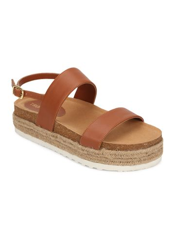 Truffle Collection | Truffle Collection Tan PU Platform Wedges With Back Strap Espadrilles Sandals