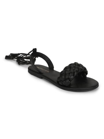 Truffle Collection | Truffle Collection Black PU Lace up Flat Sandals
