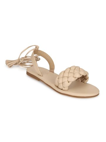 Truffle Collection | Truffle Collection Nude PU Lace up Flat Sandals