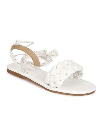 Truffle Collection | Truffle Collection White PU Lace up Flat Sandals
