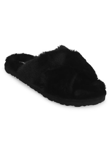 Truffle Collection | Black Fuzzy Fur Slip Ons