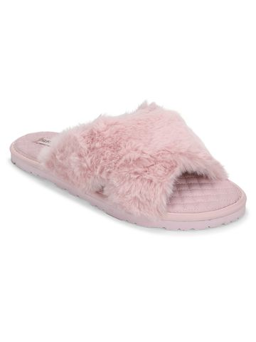 Truffle Collection | Pink Fuzzy Fur Slip Ons