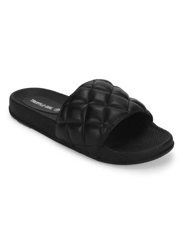Truffle Collection | Black PU CrissCross Quilted Slip Ons