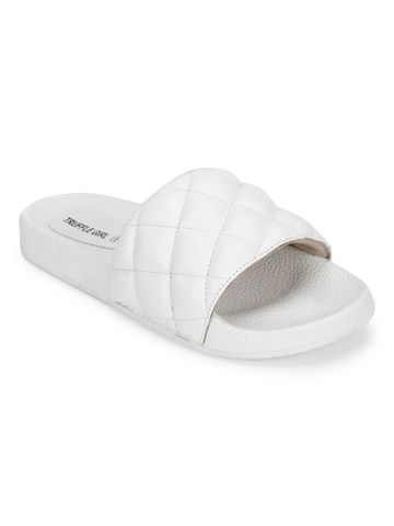Truffle Collection | White PU Crisscross Quilted Slip Ons