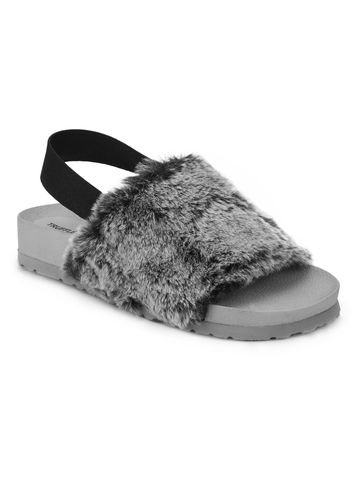 Truffle Collection | Grey Faux Fur Slip Ons With Back Strap