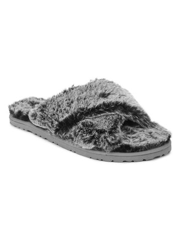 Truffle Collection   Grey Faux Fur Fuzzy Slip Ons