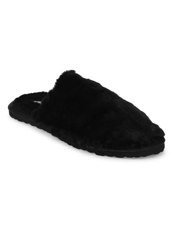 Truffle Collection   Black Faux Fur Fuzzy Slip Ons