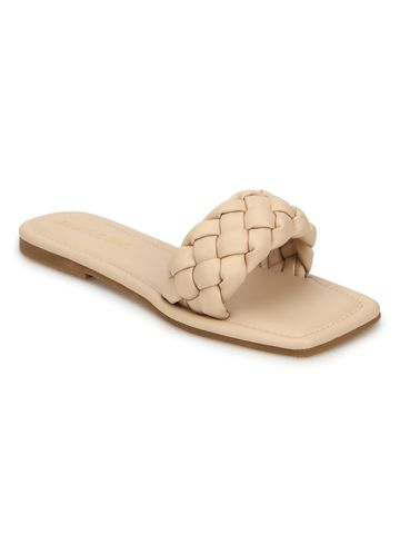 Truffle Collection | Truffle Collection Nude PU Quilted Strap Slip Ons