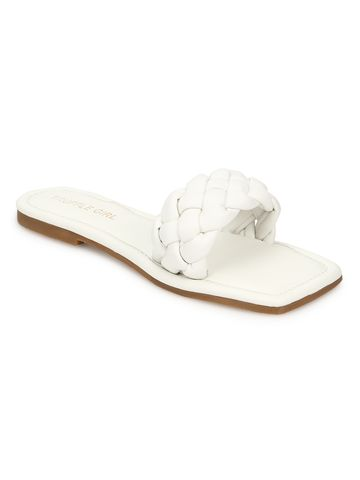 Truffle Collection | Truffle Collection White PU Quilted Strap Slip Ons