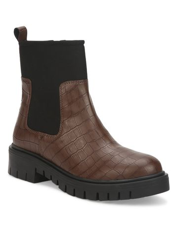 Truffle Collection | Brown Croc PU Cleated Bottom Ankle Boots