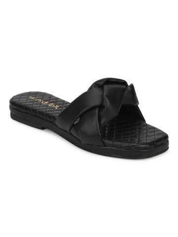 Truffle Collection | Truffle Collection Black PU Braided Strap Slip Ons