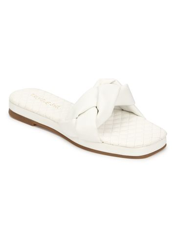 Truffle Collection | Truffle Collection White PU Braided Strap Slip Ons