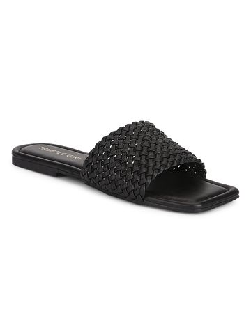 Truffle Collection | Truffle Collection Black PU Mesh Strap Slip Ons