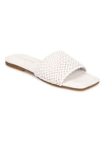 Truffle Collection | Truffle Collection White PU Mesh Strap Slip Ons