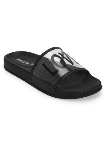Truffle Collection | Clear Black PU Slip Ons