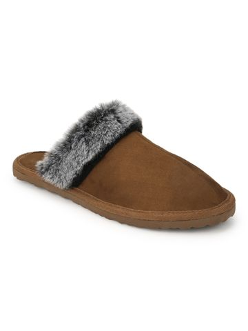Truffle Collection | Tan Micro Fuzzy Slippers With Faux Fur