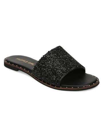 Truffle Collection | Truffle Collection Black PU Shimmer Slip Ons