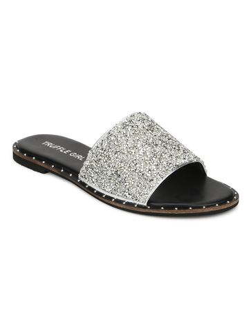 Truffle Collection | Truffle Collection Silver PU Shimmer Slip Ons