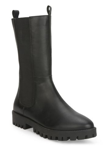 Truffle Collection | Black PU Slide On Calf Length Boots