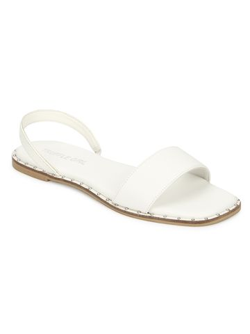 Truffle Collection | Truffle Collection White PU Flat Sandals with Back Strap