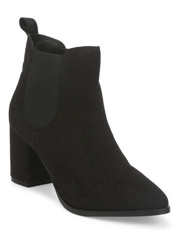 Truffle Collection | Black Suede Slip On Ankle Boots
