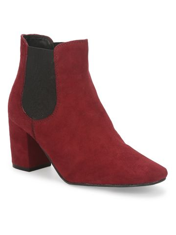 Truffle Collection | Burgundy Suede Slip On Ankle Boots