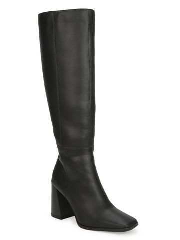 Truffle Collection | Black PU Thigh High Block Heel Boots