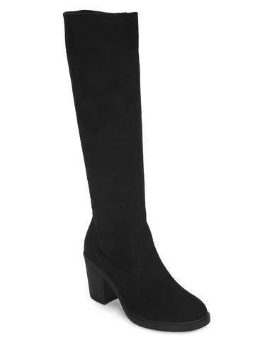 Truffle Collection | Black Micro Block Heel Long Boots