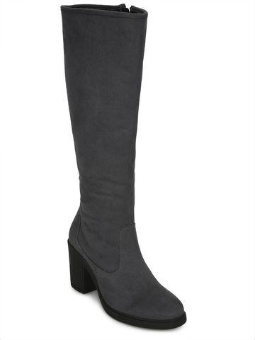Truffle Collection   Grey Micro Block Heel Long Boots