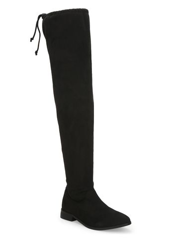 Truffle Collection | Black Suede Thigh High Boots