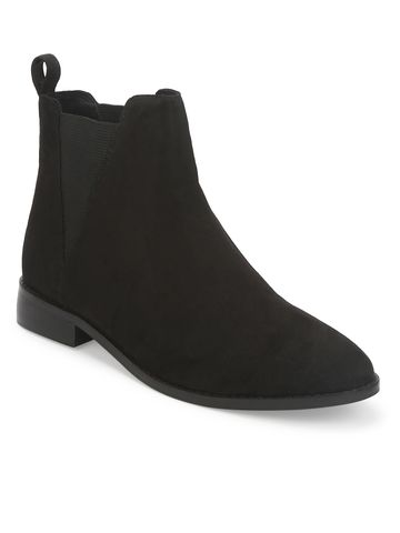 Truffle Collection | Black Suede Slip On Low Ankle Boots