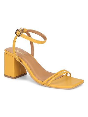 Truffle Collection | Truffle Collection Mustard PU Double Strap Block Heels