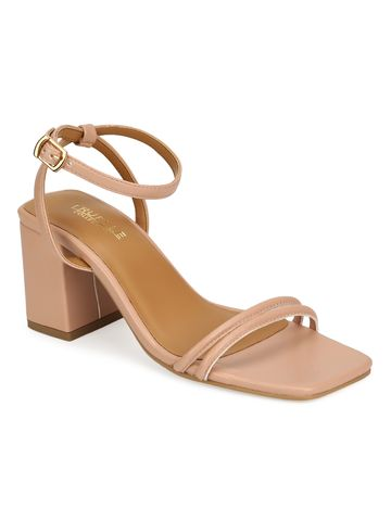 Truffle Collection | Truffle Collection Nude PU Double Strap Block Heels