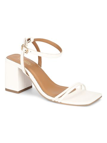 Truffle Collection | Truffle Collection White PU Double Strap Block Heels