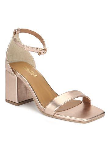 Truffle Collection | Rosegold PU Block Heel Sandals