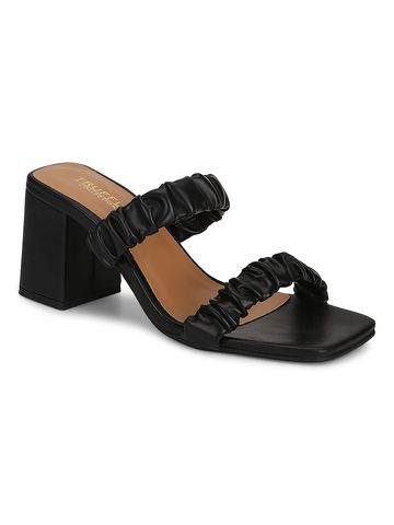 Truffle Collection | Truffle Collection Black PU Quilted Square Toe Mules