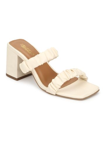 Truffle Collection | Truffle Collection Cream PU Quilted Square Toe Mules