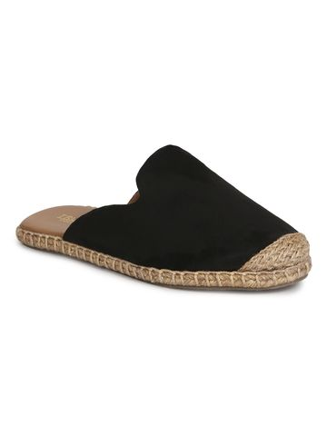 Truffle Collection   Truffle Collection Black Micro Jute Slider Shoes