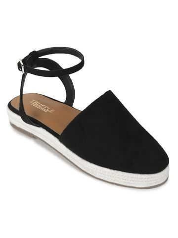 Truffle Collection   Truffle Collection Black Micro Flat Espadrille Sandals