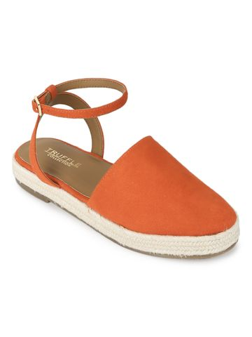 Truffle Collection   Truffle Collection Orange Micro Flat Espadrille Sandals