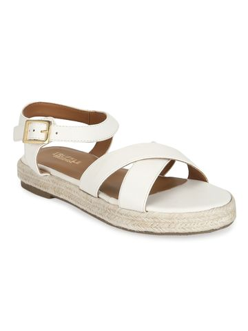 Truffle Collection | White PU Criss Cross Straps Jute Sandals