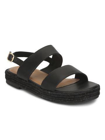 Truffle Collection | Black PU Jute Sandals