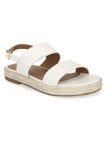 Truffle Collection | White PU Jute Sandals